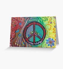 Peace and Love Original Hippie Art Greeting Card