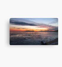 Winter Sunset over Pic Island on Lake Superior at Marathon Ontario Canada Metal Print