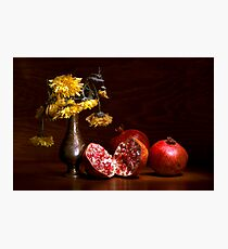 Pomegranate still life with chrysanthemum Photographic Print