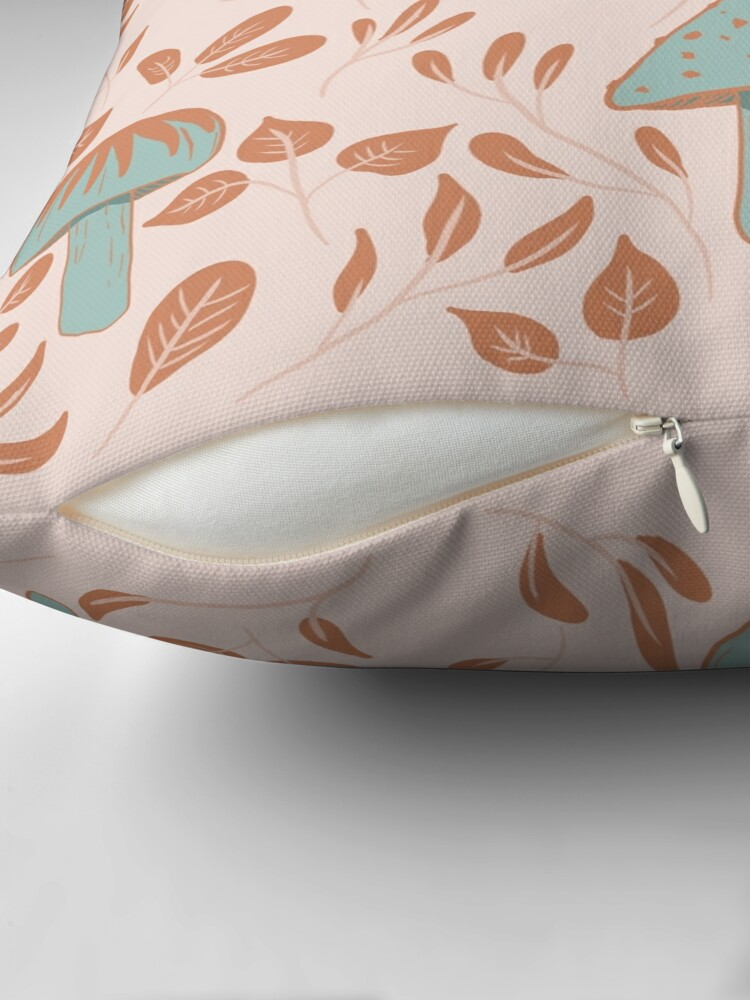Alternate view of Leaves and Mushrooms Print Floor Pillow