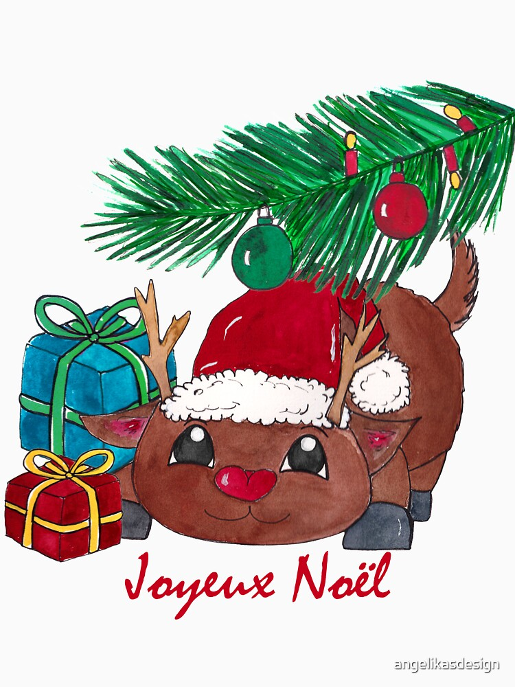 Reindeer with fir branch and gifts Joyeux Noël by angelikasdesign