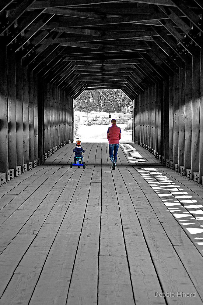 Walking Over the Bridge With Mom - Wakefield Quebec by Debbie Pinard