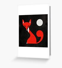 Fox and Moon Semicolon Version Greeting Card