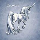 April Birthstone Unicorn: Diamond Gemstone Art by Stephanie Smith