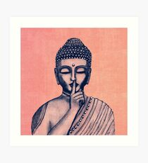Buddha Shh... Do not disturb in Coral Art Print
