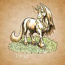 November Birthstone Unicorn: Topaz Gemstone Fantasy Artwork by Stephanie Smith