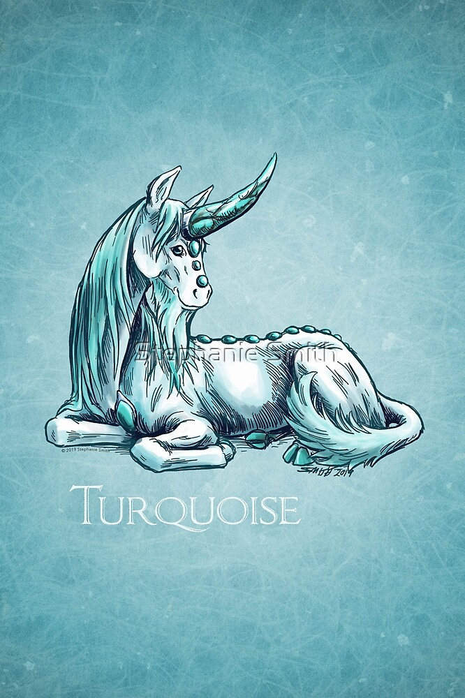 December Birthstone Unicorn: Turquoise Gemstone Art by Stephanie Smith