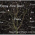 Falling Snow New Year Greeting Card - To All My RedBubble Friends von BlueMoonRose