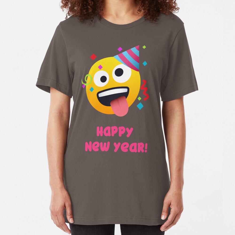 Happy New Year Zany Emoji Slim Fit T-Shirt