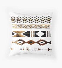 Tribal Aztec Gold and Black Design Throw Pillow