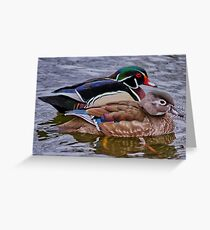 Mr & Mrs Wood Duck Greeting Card