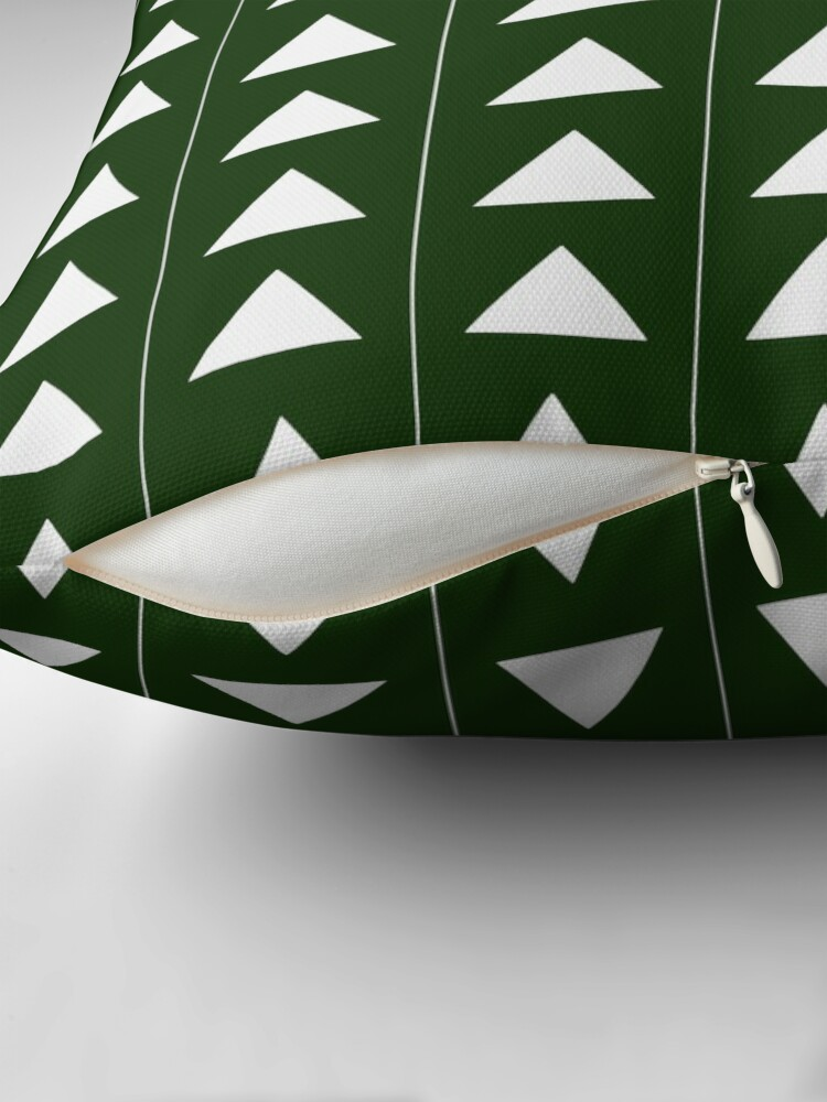 Alternate view of Pyramid Triangles - Olive Green Throw Pillow
