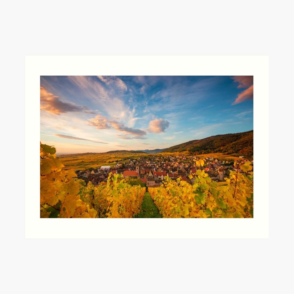 Vignoble schoenenbourg et village de Riquewihr Impression artistique