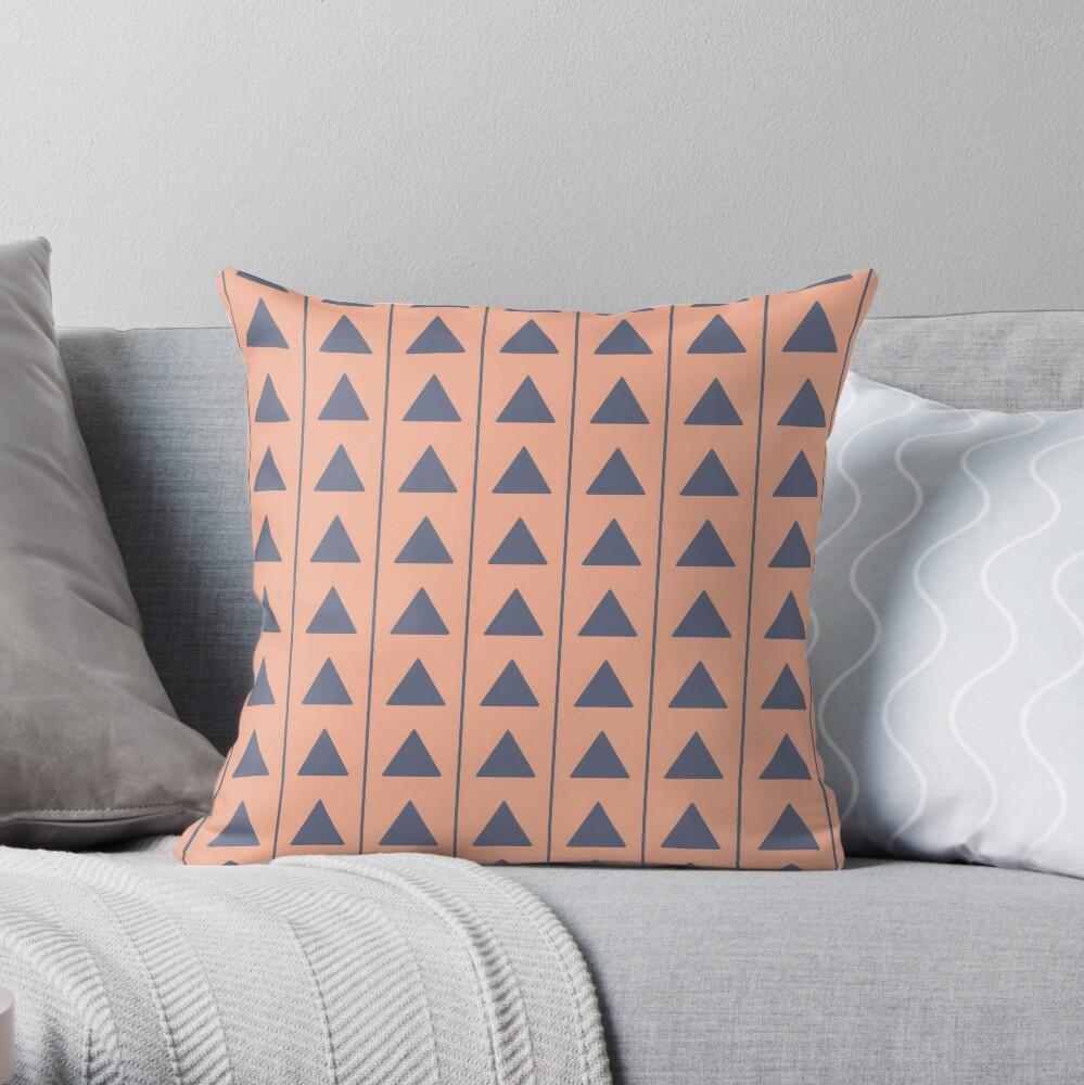 Pyramids - Blue on Cream Throw Pillow