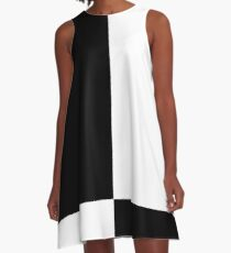 Mod Four Square, Black & White A-Line Dress