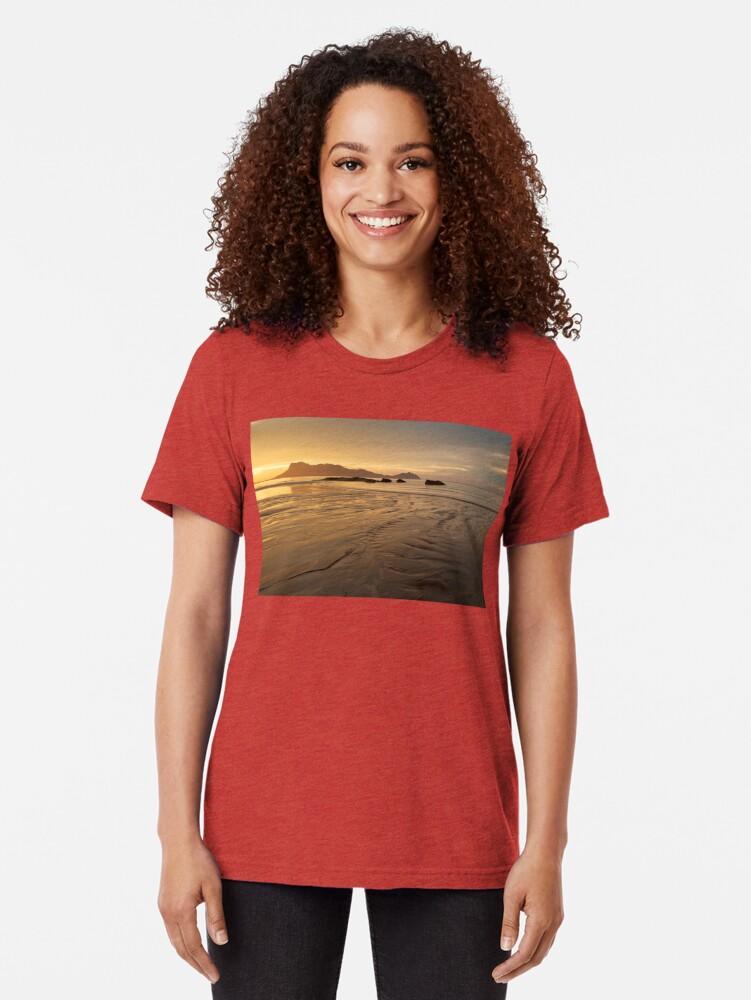 Alternate view of Golden light at beach in Borneo Bako national park Malaysia Tri-blend T-Shirt
