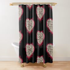 Skull Heart Shower Curtain
