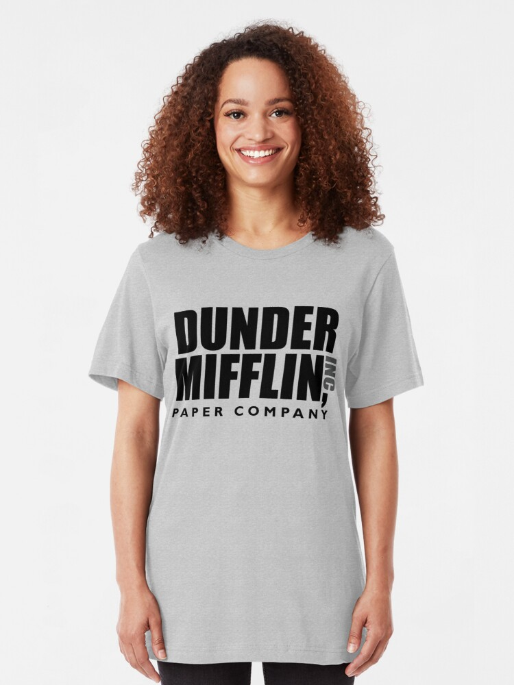 Alternate view of The Dunder Office Mifflin Inc. Design, T-Shirt, tshirt, tee, jersey, poster, Original Funny Gift Idea, Dwight Best Quote From Slim Fit T-Shirt