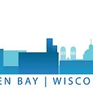 Green Bay Skyline - Blue by GBSwagShop