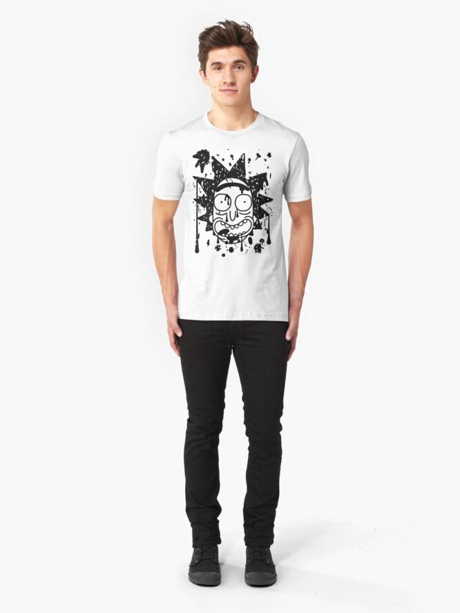 Alternate view of Dripping Happy Rick Sanchez Black Slim Fit T-Shirt