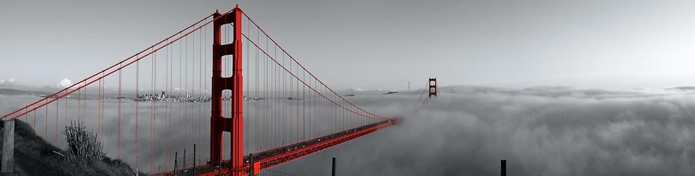 Golden Gate Bridge — Black and Red by Alex Eckermann