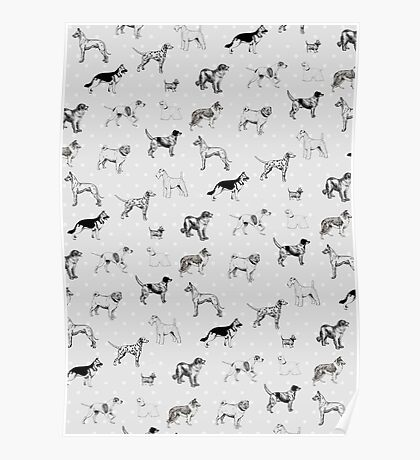 Dogs & Polka Dots Poster