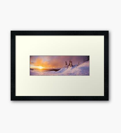 Winter sunrise, the Old Man of Storr, Skye. Framed Print