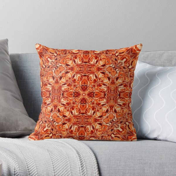 Liquefied Flow II - Orange Throw Pillow