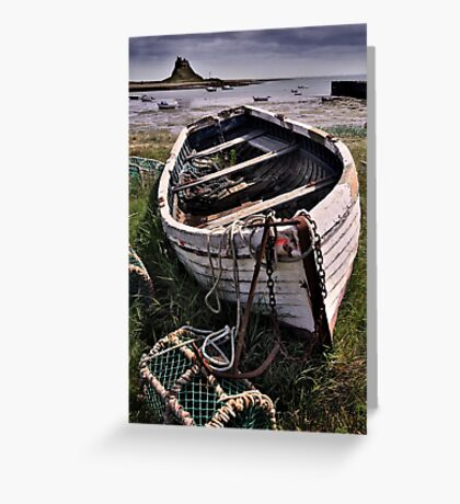 Old boat and lobster pots - Lindisfarne Greeting Card