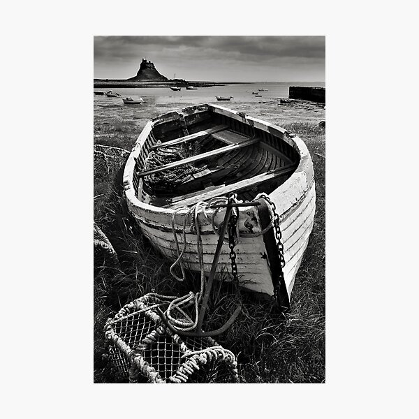 Old boat and lobster pots - Lindisfarne Photographic Print