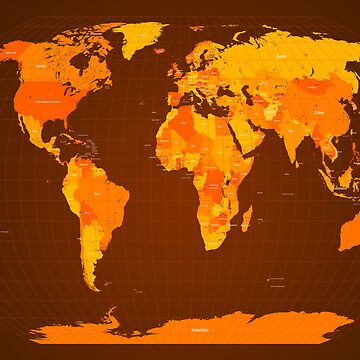 World Map Autumn Colours by ArtPrints