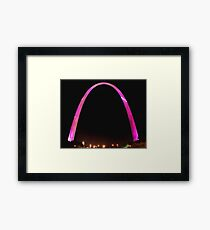 St Louis Arch, Pink for breast cancer awareness! Framed Print
