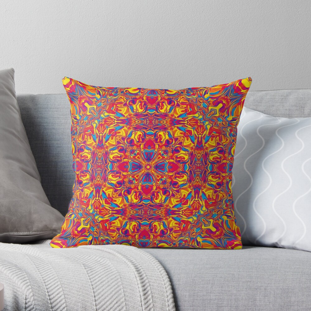 Liquefied Flow II - RYB Throw Pillow