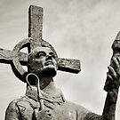 Statue of St Cuthbert - Lindisfarne Priory by Dave Lawrance