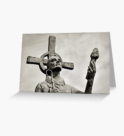 Statue of St Cuthbert - Lindisfarne Priory Greeting Card