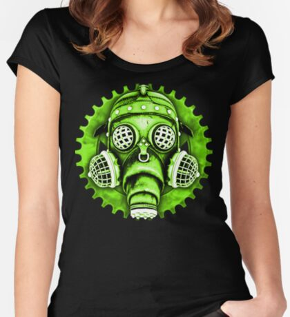 Steampunk / Cyberpunk Gas Mask #1E Steampunk T-Shirts Women's Fitted Scoop T-Shirt