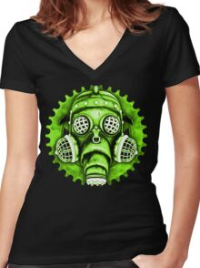 Steampunk / Cyberpunk Gas Mask #1E Women's Fitted V-Neck T-Shirt