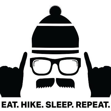 Comer. Caminata. Dormir. Repetir. Pegatina de leiderdesign