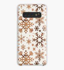 Schneeflockensammlung - Rose Gold Palette Hülle & Klebefolie für Samsung Galaxy
