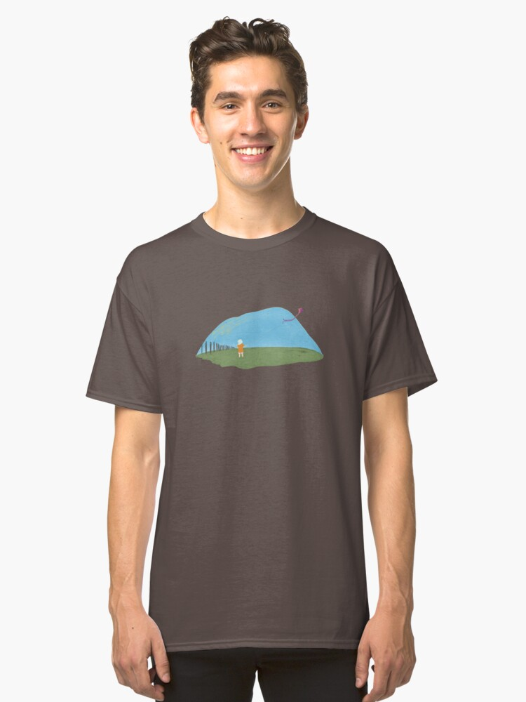 Alternate view of A girl flying a kite naive illustration Classic T-Shirt