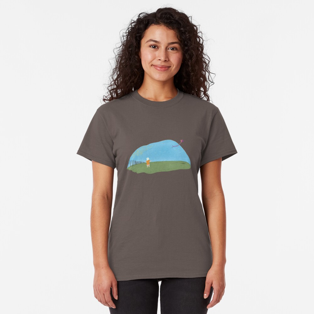 A girl flying a kite naive illustration Classic T-Shirt