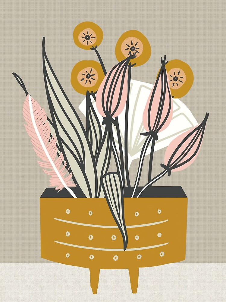 Mid Century gold pottery with plants by BirdsongPrints