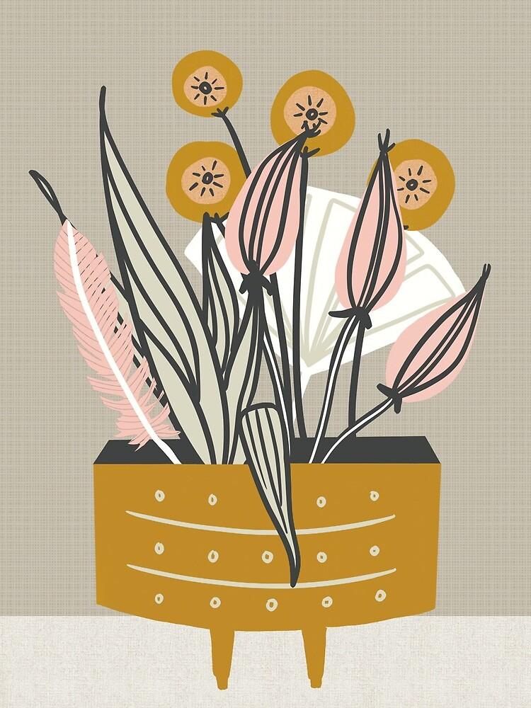 Mitte des Jahrhunderts Goldkeramik mit Pflanzen von BirdsongPrints