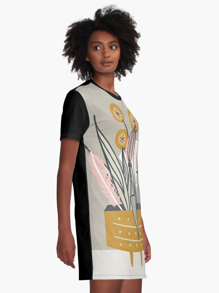 Alternate view of Mid Century gold pottery with plants Graphic T-Shirt Dress