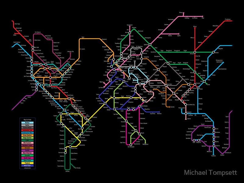World metro map posters by michael tompsett redbubble world metro map by michael tompsett gumiabroncs Gallery