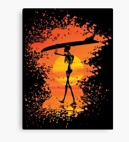 Skeleton with surfboard Canvas Print