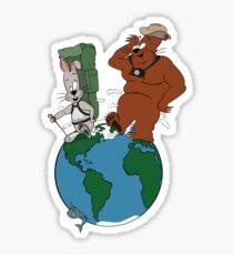 Bear and Rabbit go globetrotting Sticker
