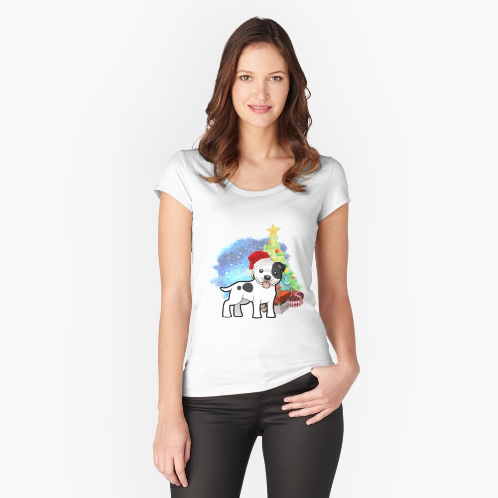A Staffy Christmas Fitted Scoop T-Shirt