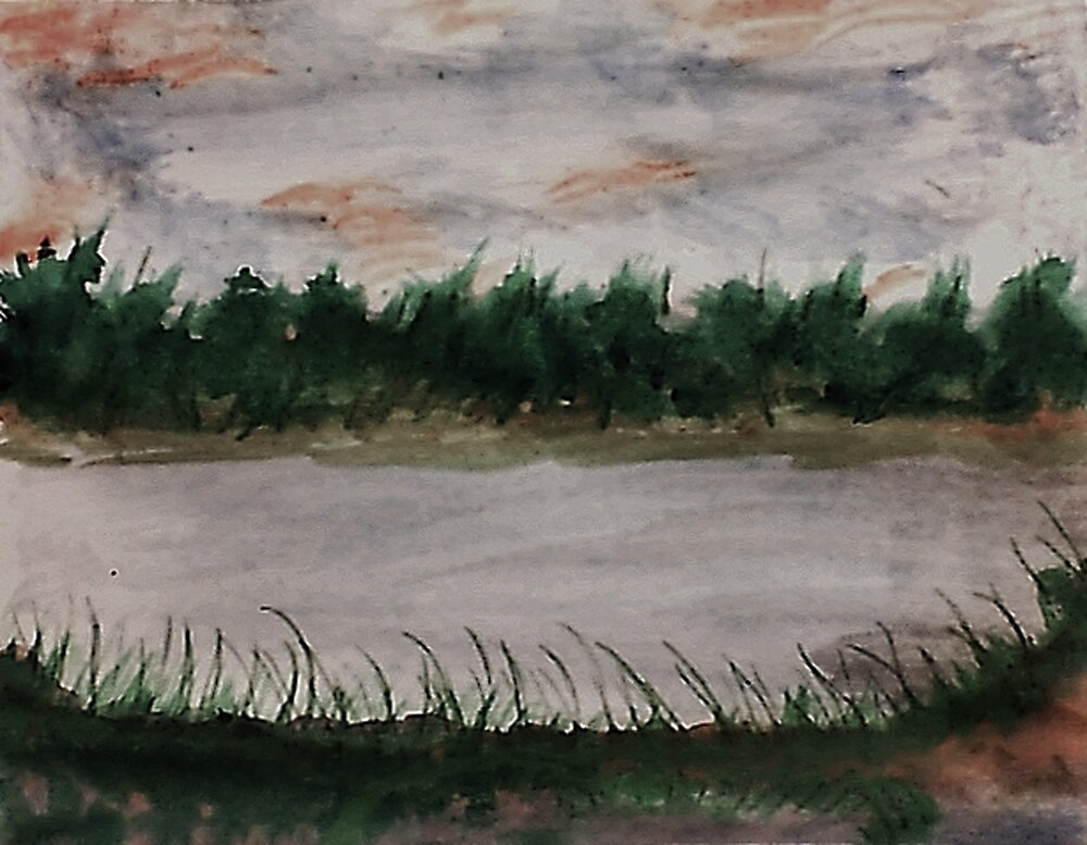 Walking around the Lake.  watercolor by Anna  Lewis, blind artist