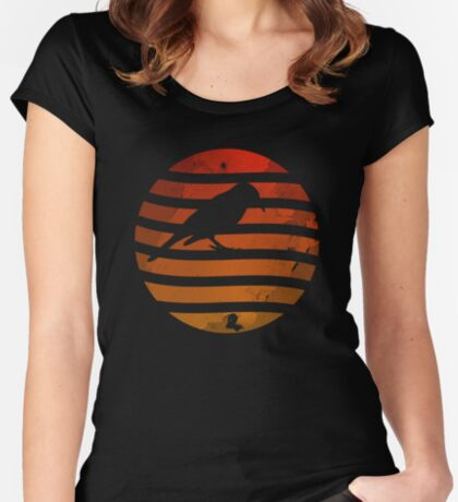 Bird Grunge Sunset Women's Fitted Scoop T-Shirt